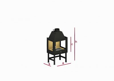 Open three-sided fireplace RK1T